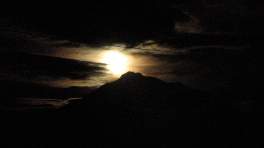 Super Moon rising above Mt. Shasta