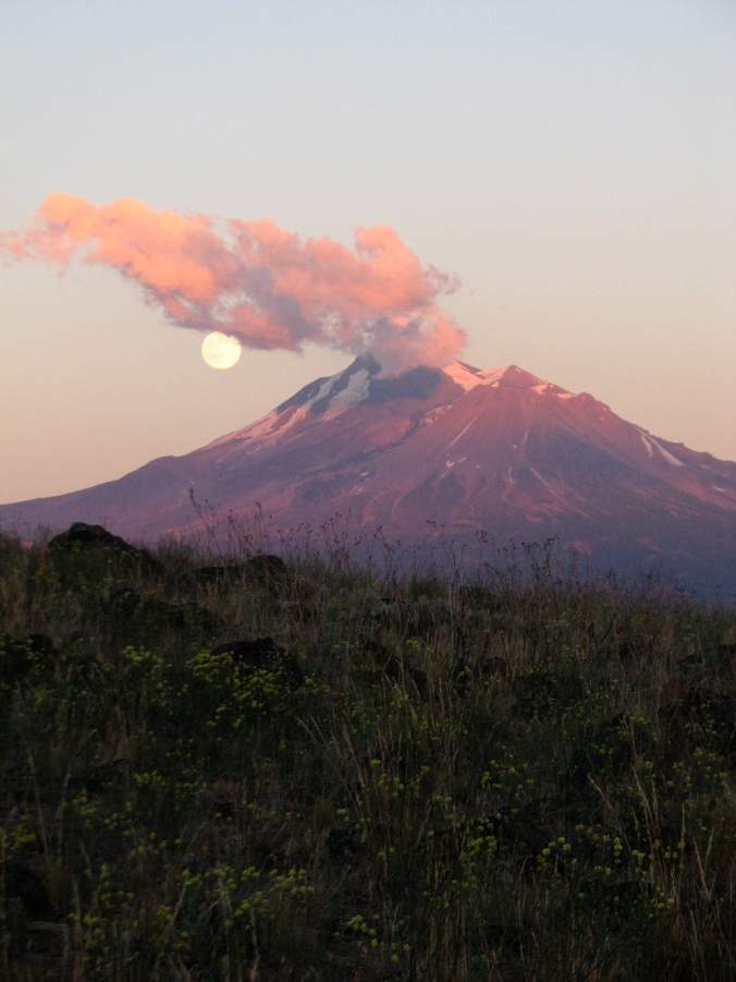 June 11th Super Moon rising over Mt. Shasta