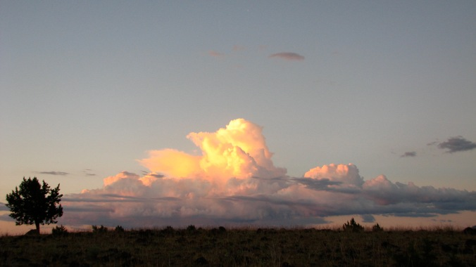 Thunderhead, out by Sheep Rock, catching the last glow of sunset.